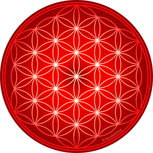 Round mouse pad- Red Flower of Life
