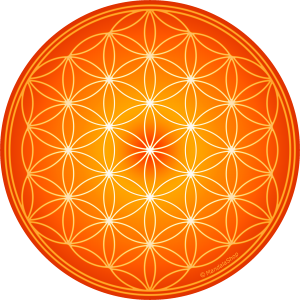 Round mouse pad - Orange Flower of Life