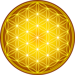 Round mouse pad - Yellow Flower of Life