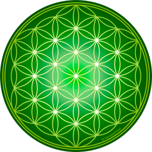 Round mouse pad - Green Flower of Life