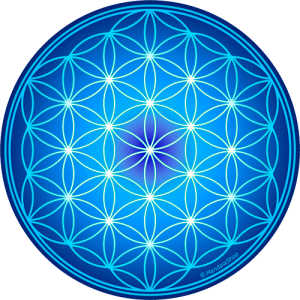 Round mouse pad - Blue Flower of Life