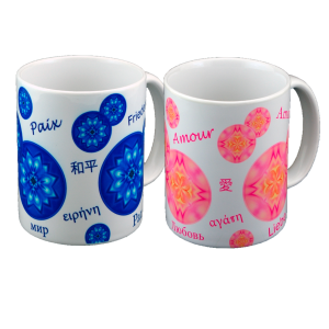 Duo mugs bubbles of Peace and Love