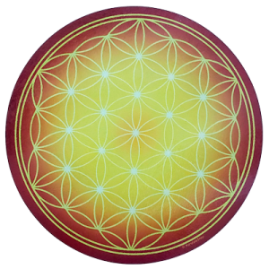 Round Energising Plate Yellow Flower of Life