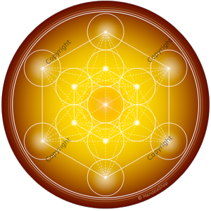Round mouse pad Yellow Metatron's Cube