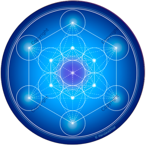 Round mouse pad Blue Metatron's Cube
