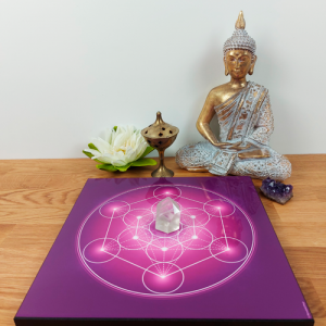 Wooden energising tray with Metatron's Cube (chakras' colours)