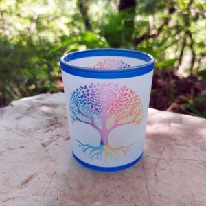 Tree of Life (with white background) glass Candle holder