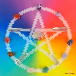 Wooden energising tray with multicoloured Pentacle
