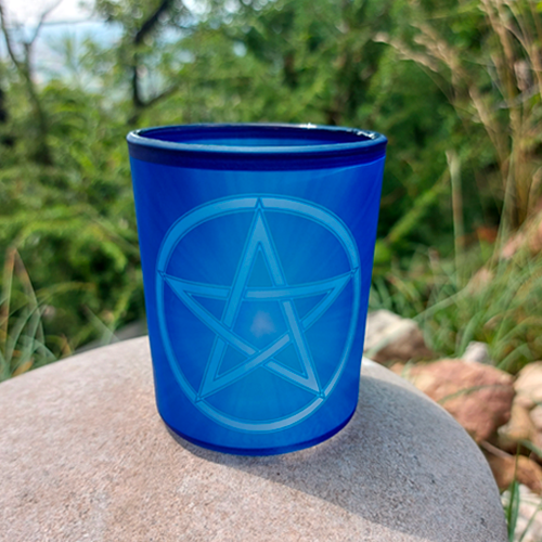 Pentacle glass candle holder