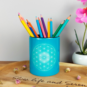 Turquoise Flower of Life Pencil holder