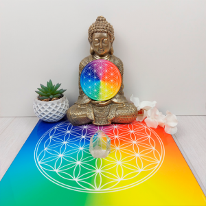 Wooden energising tray with 7-ray Flower of Life